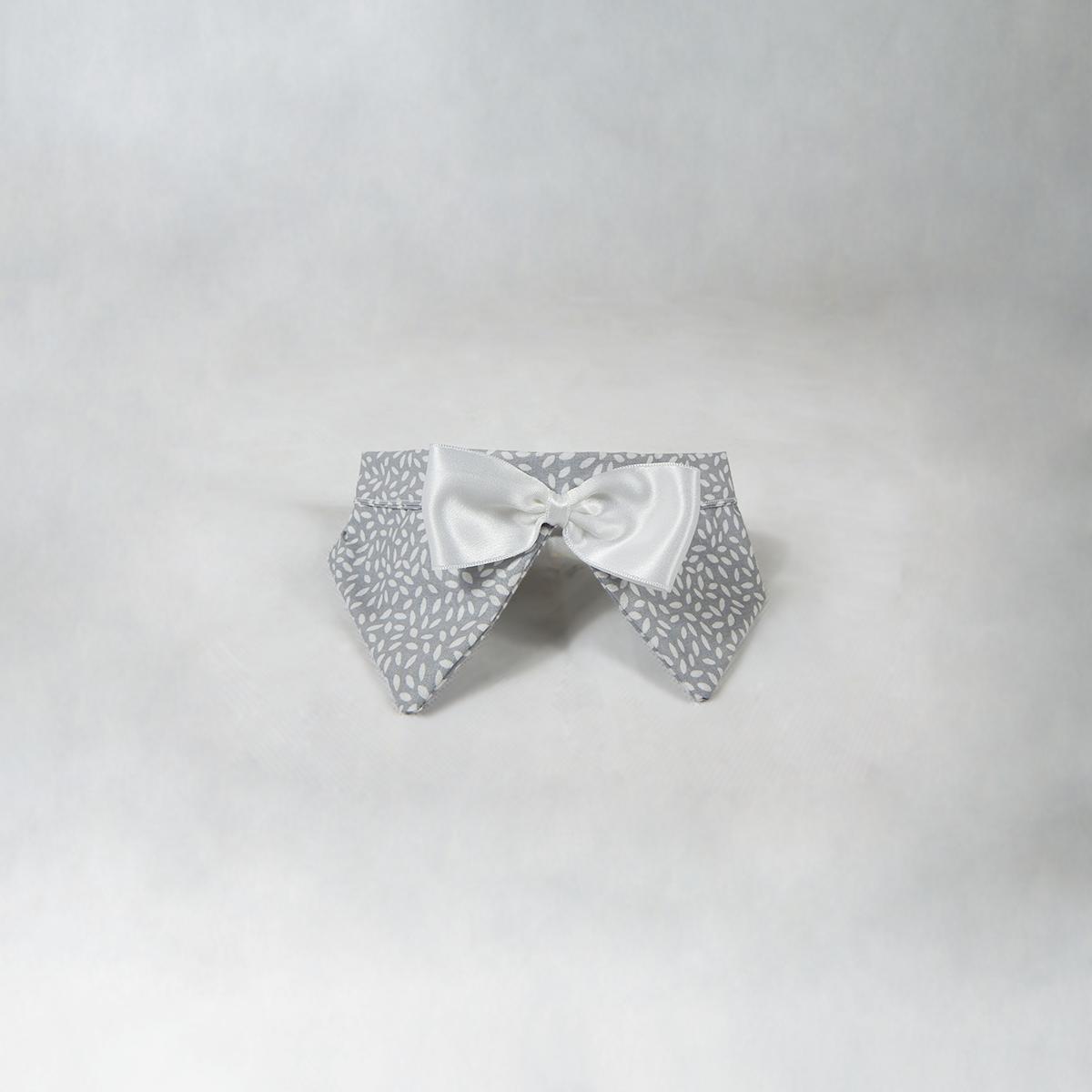 Papillon grigio con fantasia Rice - Fiocco Bianco