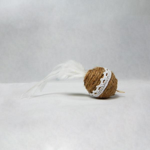 Gioco per gatti con bastoncino e pallina piumata bianca