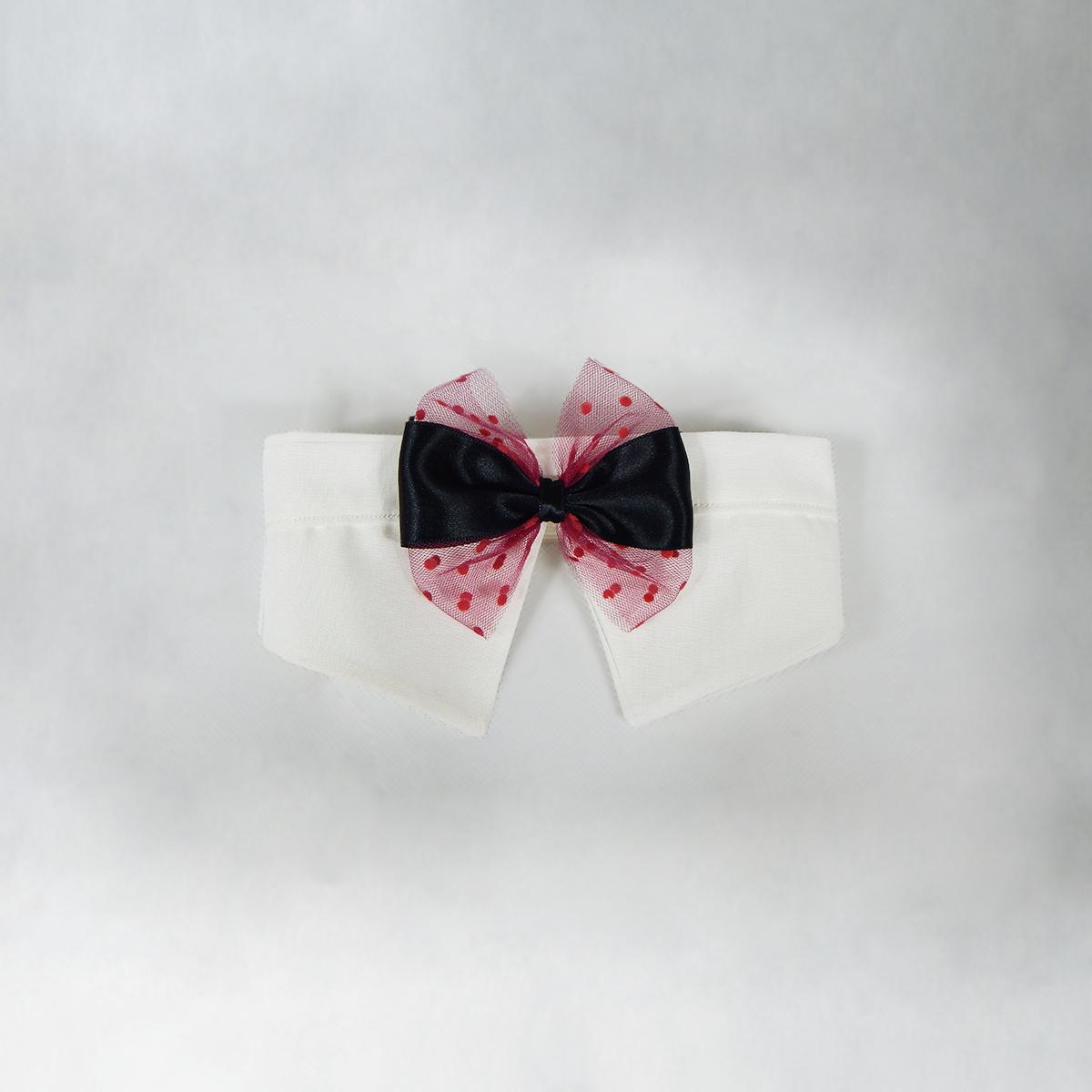 *SPECIALE* Papillon natalizio bianco con fiocco nero